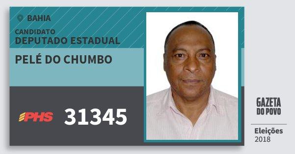 Santinho Pelé do Chumbo 31345 (PHS) Deputado Estadual | Bahia | Eleições 2018