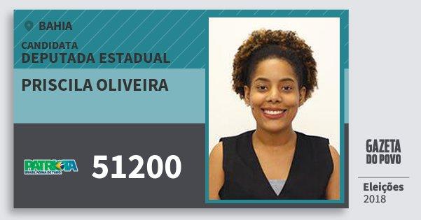Santinho Priscila Oliveira 51200 (PATRI) Deputada Estadual | Bahia | Eleições 2018