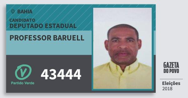 Santinho Professor Baruell 43444 (PV) Deputado Estadual | Bahia | Eleições 2018