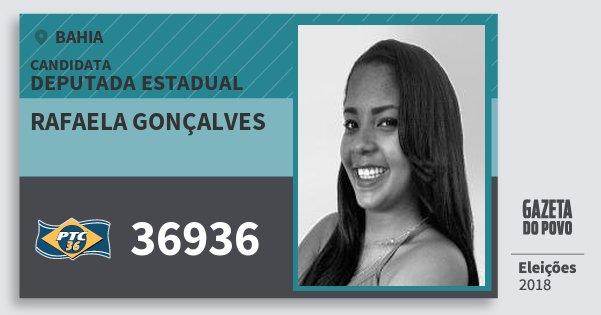 Santinho Rafaela Gonçalves 36936 (PTC) Deputada Estadual | Bahia | Eleições 2018