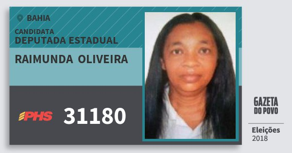 Santinho Raimunda  Oliveira 31180 (PHS) Deputada Estadual | Bahia | Eleições 2018