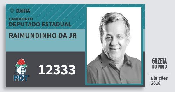 Santinho Raimundinho da Jr 12333 (PDT) Deputado Estadual | Bahia | Eleições 2018