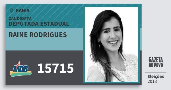 Santinho Raine Rodrigues 15715 (MDB) Deputada Estadual | Bahia | Eleições 2018