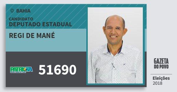 Santinho Regi de Mané 51690 (PATRI) Deputado Estadual | Bahia | Eleições 2018