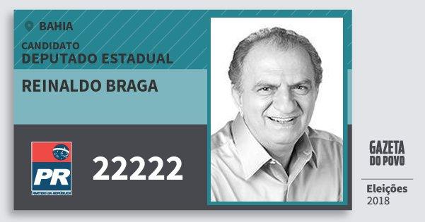 Santinho Reinaldo Braga 22222 (PR) Deputado Estadual | Bahia | Eleições 2018