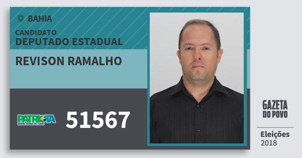 Santinho Revison Ramalho 51567 (PATRI) Deputado Estadual | Bahia | Eleições 2018