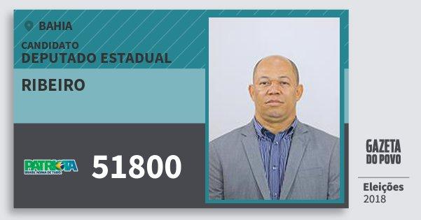 Santinho Ribeiro 51800 (PATRI) Deputado Estadual | Bahia | Eleições 2018