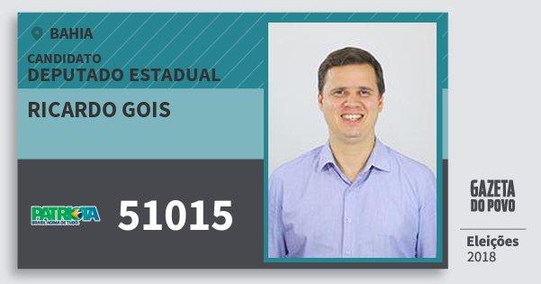 Santinho Ricardo Gois 51015 (PATRI) Deputado Estadual | Bahia | Eleições 2018