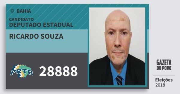 Santinho Ricardo Souza 28888 (PRTB) Deputado Estadual | Bahia | Eleições 2018