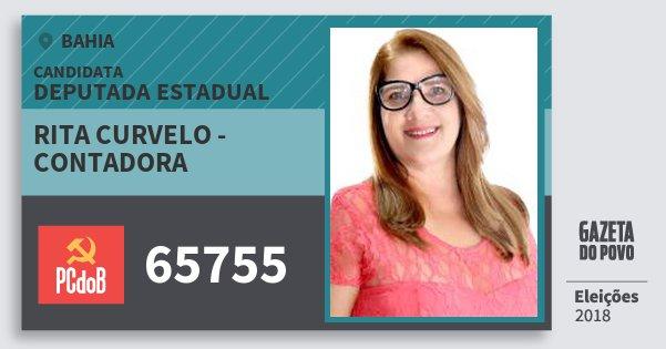 Santinho Rita Curvelo - Contadora 65755 (PC do B) Deputada Estadual | Bahia | Eleições 2018