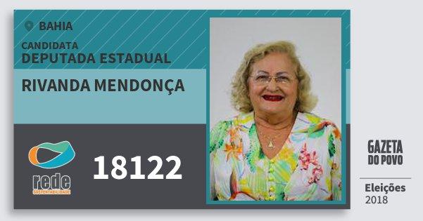 Santinho Rivanda Mendonça 18122 (REDE) Deputada Estadual | Bahia | Eleições 2018