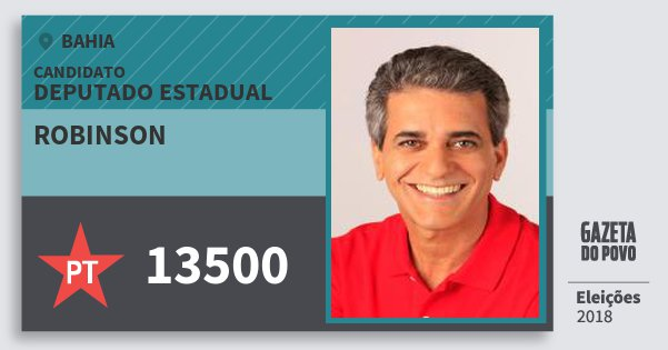 Santinho Robinson 13500 (PT) Deputado Estadual | Bahia | Eleições 2018