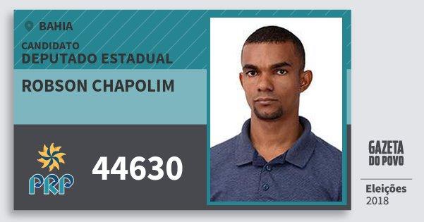 Santinho Robson Chapolim 44630 (PRP) Deputado Estadual | Bahia | Eleições 2018