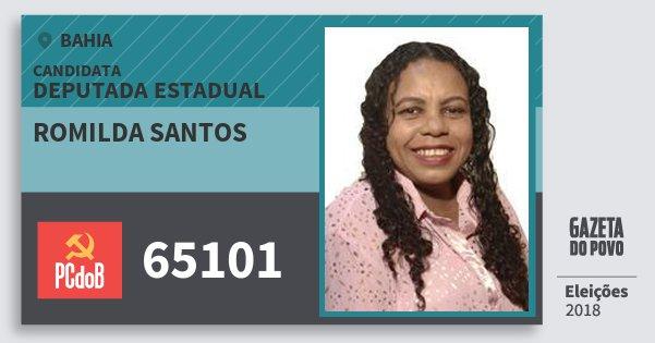 Santinho Romilda Santos 65101 (PC do B) Deputada Estadual | Bahia | Eleições 2018