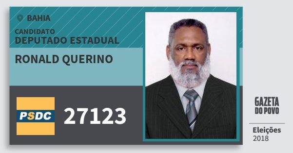 Santinho Ronald Querino 27123 (DC) Deputado Estadual | Bahia | Eleições 2018