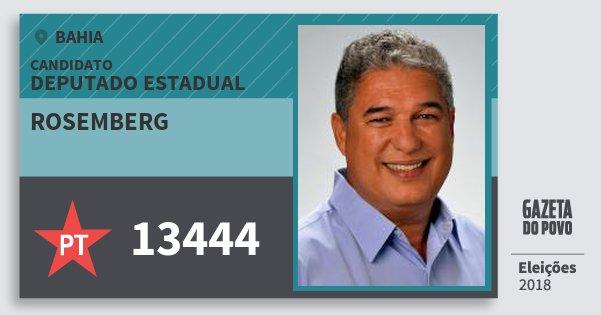 Santinho Rosemberg 13444 (PT) Deputado Estadual | Bahia | Eleições 2018