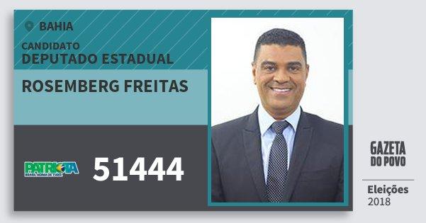 Santinho Rosemberg Freitas 51444 (PATRI) Deputado Estadual | Bahia | Eleições 2018