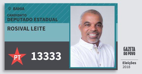 Santinho Rosival Leite 13333 (PT) Deputado Estadual | Bahia | Eleições 2018