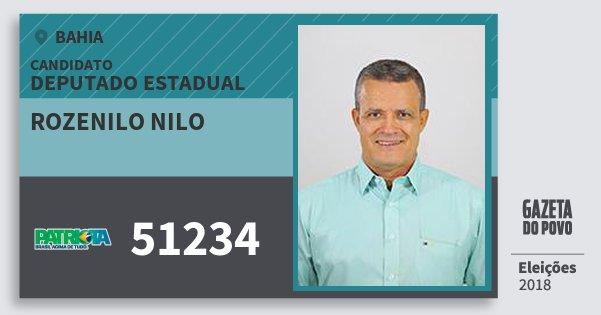 Santinho Rozenilo Nilo 51234 (PATRI) Deputado Estadual | Bahia | Eleições 2018