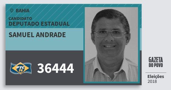 Santinho Samuel Andrade 36444 (PTC) Deputado Estadual | Bahia | Eleições 2018