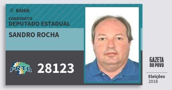 Santinho Sandro Rocha 28123 (PRTB) Deputado Estadual | Bahia | Eleições 2018