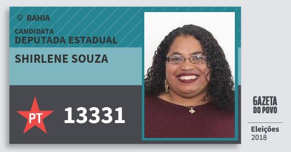 Santinho Shirlene Souza 13331 (PT) Deputada Estadual | Bahia | Eleições 2018