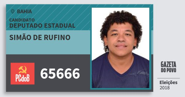 Santinho Simão de Rufino 65666 (PC do B) Deputado Estadual | Bahia | Eleições 2018