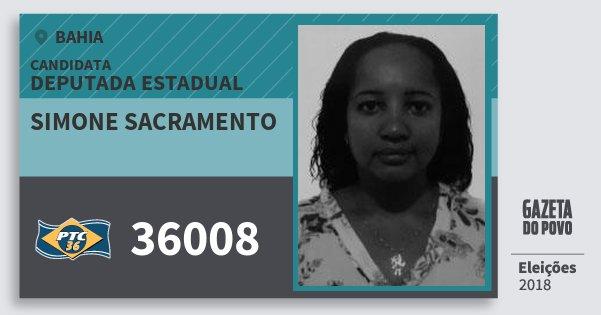 Santinho Simone Sacramento 36008 (PTC) Deputada Estadual | Bahia | Eleições 2018