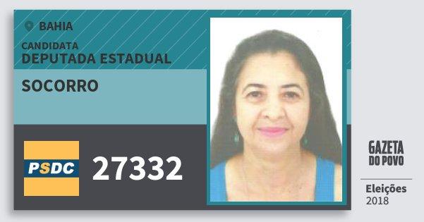 Santinho Socorro 27332 (DC) Deputada Estadual | Bahia | Eleições 2018