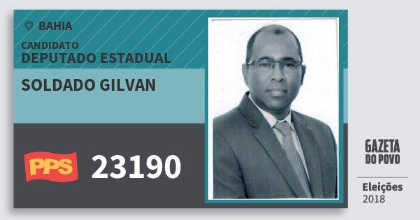 Santinho Soldado Gilvan 23190 (PPS) Deputado Estadual | Bahia | Eleições 2018