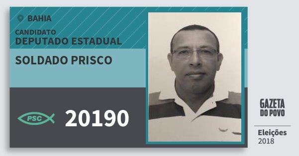 Santinho Soldado Prisco 20190 (PSC) Deputado Estadual   Bahia   Eleições 2018