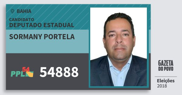 Santinho Sormany Portela 54888 (PPL) Deputado Estadual | Bahia | Eleições 2018