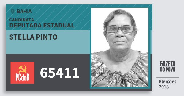 Santinho Stella Pinto 65411 (PC do B) Deputada Estadual | Bahia | Eleições 2018