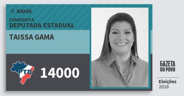 Santinho Taissa Gama 14000 (PTB) Deputada Estadual | Bahia | Eleições 2018