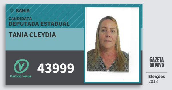 Santinho Tania Cleydia 43999 (PV) Deputada Estadual | Bahia | Eleições 2018
