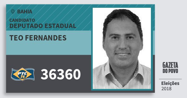 Santinho Teo Fernandes 36360 (PTC) Deputado Estadual | Bahia | Eleições 2018