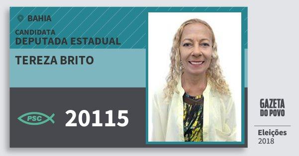 Santinho Tereza Brito 20115 (PSC) Deputada Estadual | Bahia | Eleições 2018
