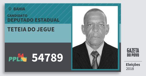 Santinho Teteia do Jegue 54789 (PPL) Deputado Estadual | Bahia | Eleições 2018