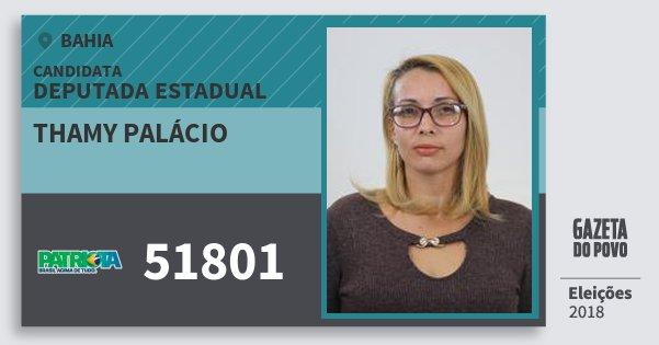 Santinho Thamy Palácio 51801 (PATRI) Deputada Estadual | Bahia | Eleições 2018