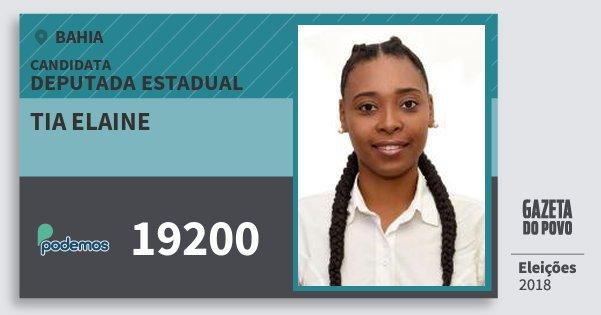 Santinho Tia Elaine 19200 (PODE) Deputada Estadual | Bahia | Eleições 2018