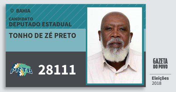 Santinho Tonho de Zé Preto 28111 (PRTB) Deputado Estadual | Bahia | Eleições 2018