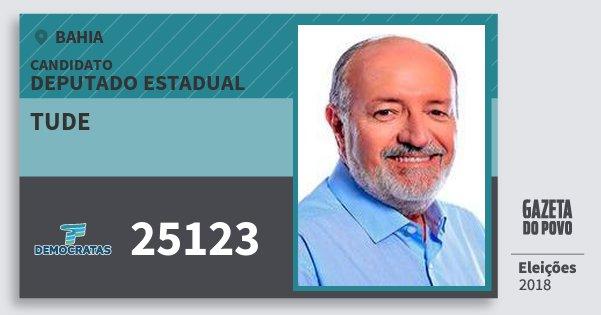 Santinho Tude 25123 (DEM) Deputado Estadual | Bahia | Eleições 2018