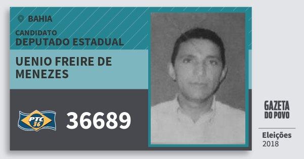 Santinho Uenio Freire de Menezes 36689 (PTC) Deputado Estadual | Bahia | Eleições 2018