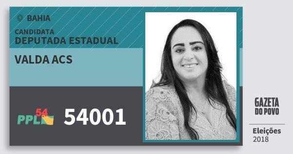 Santinho Valda Acs 54001 (PPL) Deputada Estadual | Bahia | Eleições 2018