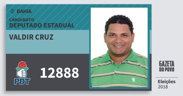 Santinho Valdir Cruz 12888 (PDT) Deputado Estadual | Bahia | Eleições 2018