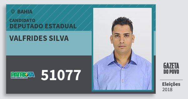 Santinho Valfrides Silva 51077 (PATRI) Deputado Estadual | Bahia | Eleições 2018