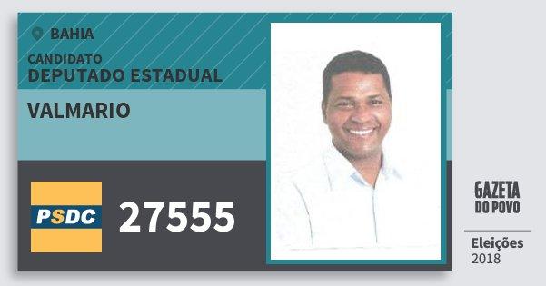 Santinho Valmario 27555 (DC) Deputado Estadual | Bahia | Eleições 2018