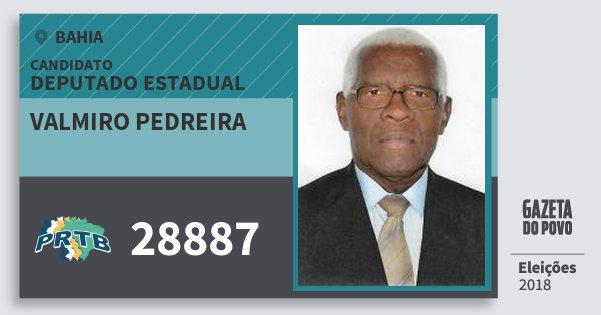 Santinho Valmiro Pedreira 28887 (PRTB) Deputado Estadual | Bahia | Eleições 2018