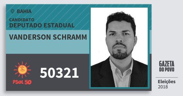 Santinho Vanderson Schramm 50321 (PSOL) Deputado Estadual | Bahia | Eleições 2018