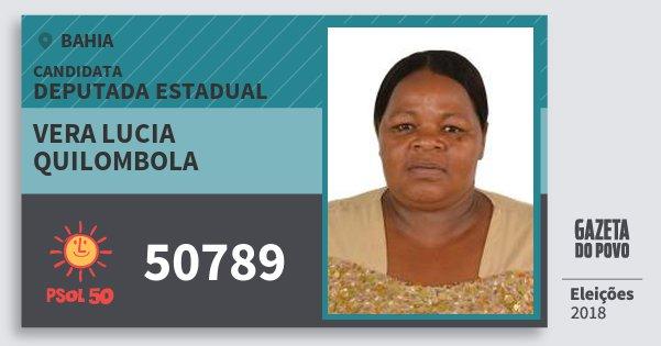 Santinho Vera Lucia Quilombola 50789 (PSOL) Deputada Estadual | Bahia | Eleições 2018